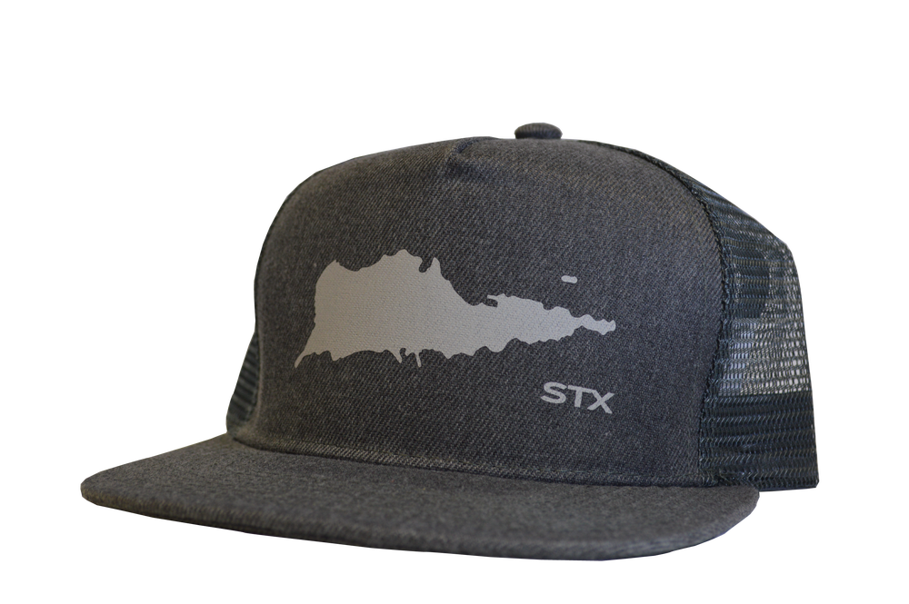 "Image of TRUCKER HAT ""STX ISLAND"" Denim Gray"