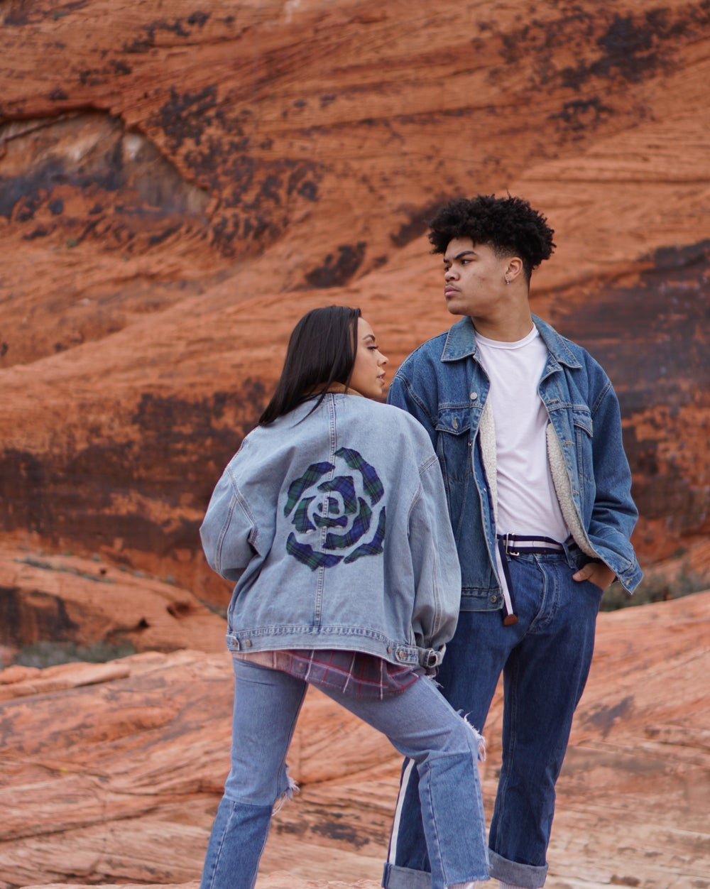 Image of denim rose jacket collection.