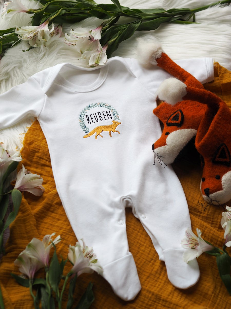 Image of Woodland Fox - white baby grow