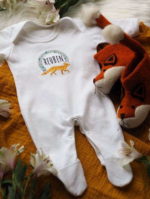 Image of  Woodland Fox - white baby grow