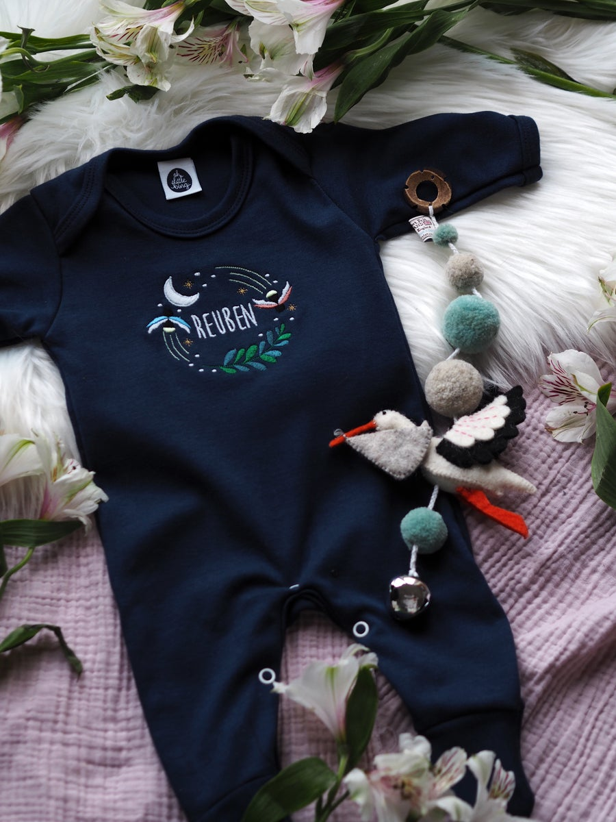 Image of Fireflies Who Glow In The Dark - Navy baby grow
