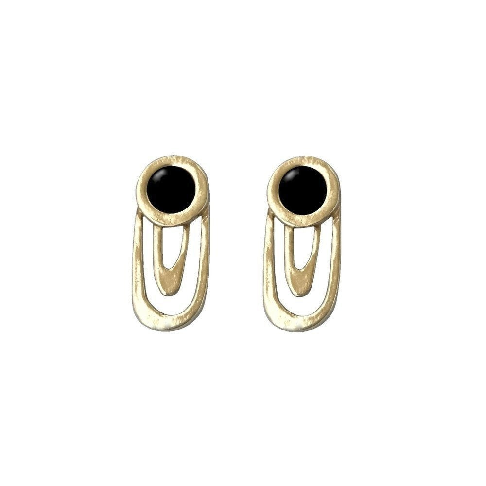Image of Ripple Earrings with Black Onyx