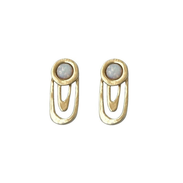 Image of Ripple Earrings with Opal