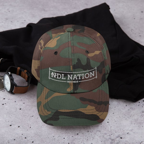 """Image of """"NDL Nation Records"""" Camo Hat"""
