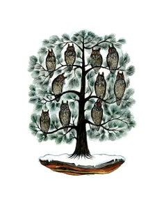 Image of Long-earred Owls in White Pine: 11 x 14 inch giclée print