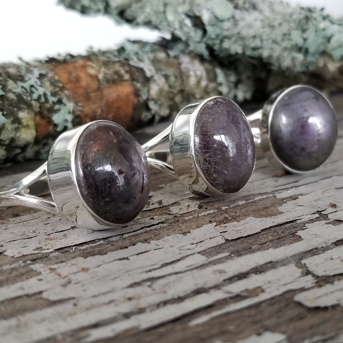 Image of Corundum Rings - Ruby & Violet Sapphire in Sterling