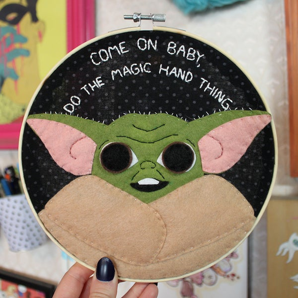 Image of Baby Yoda Embroidery Hoop