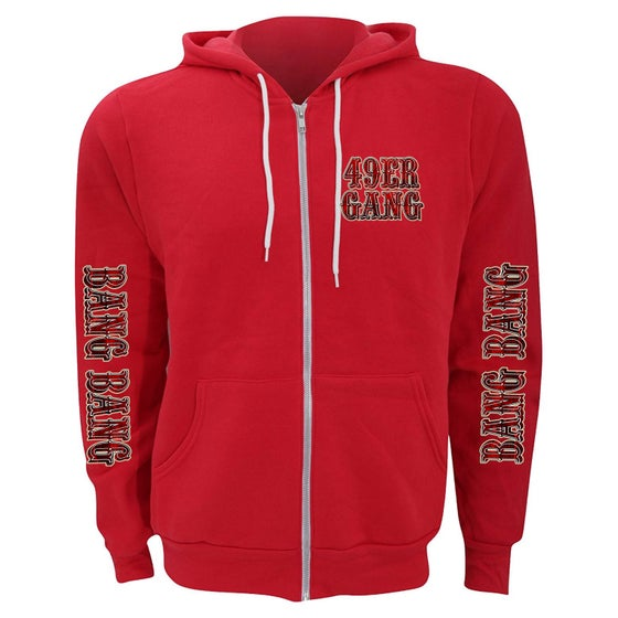 Image of Ladies 49ER GANG zip ups (red on red)