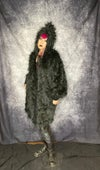 Pointy Hood Faux Fur Coat with Bishop Sleeves