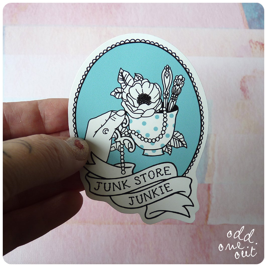 Image of Junk Store Junkie - Vinyl Sticker