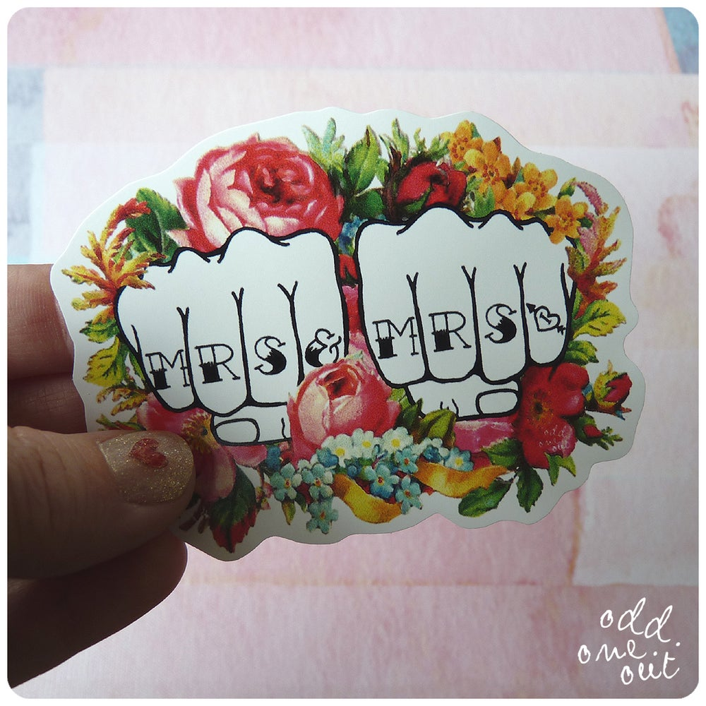 Image of Mrs & Mrs Knuckle Tattoo - Vinyl Sticker