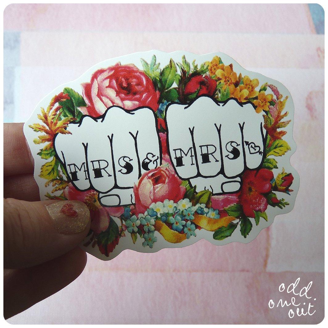 Image of Mrs & Mrs Knuckle Tattoo - Vinyl Sticker