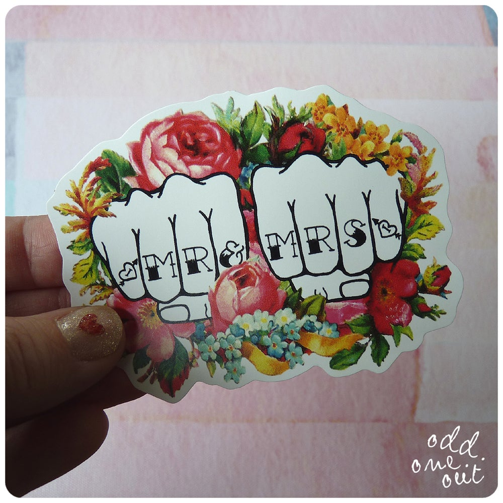 Image of Mr & Mrs Knuckle Tattoo - Vinyl Sticker