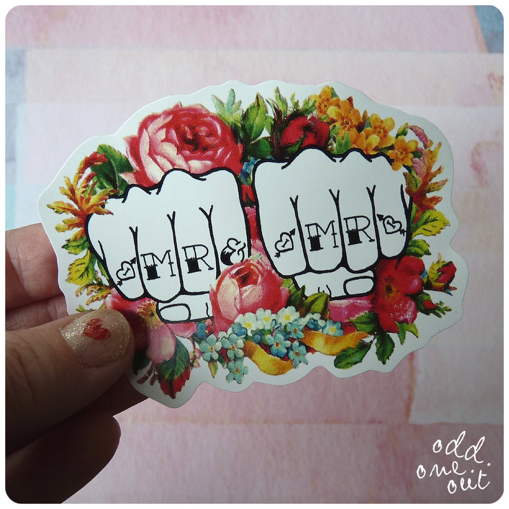 Image of Mr & Mr Knuckle Tattoo - Vinyl Sticker