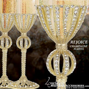 Image of  Bliss Rejoice Gold Swarovski Crystal Champagne Flutes
