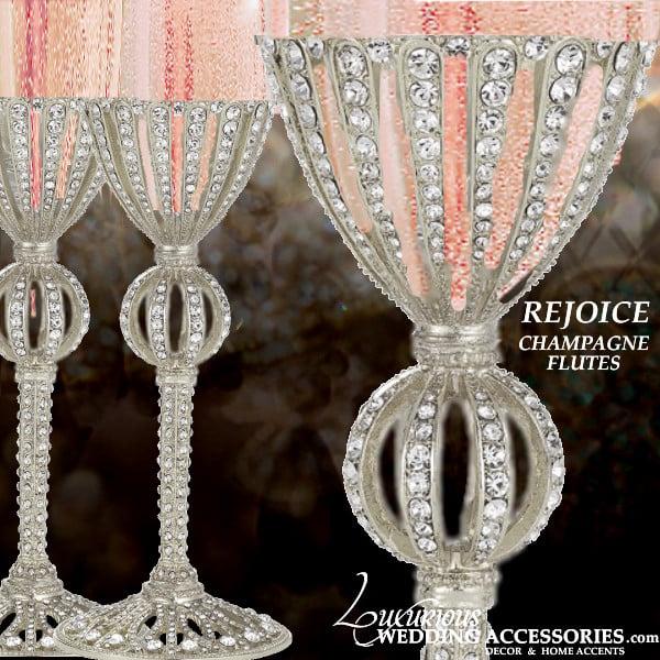 Image of Rejoice Silver Swarovski Crystal Champagne Flutes