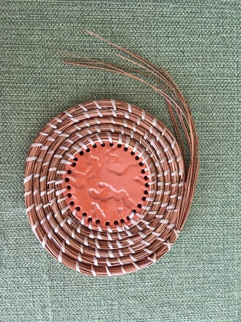 Image of Pine Needle Trivet with Hand-built Ceramic Center