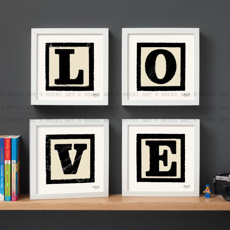 Image of LOVE LETTERS in Black - set of four