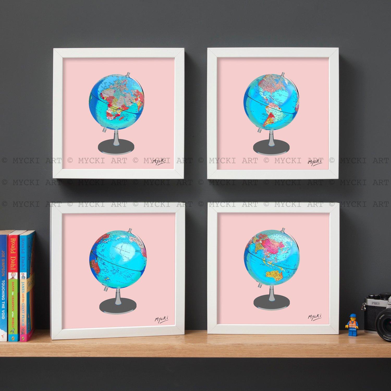 Image of Globe - all four framed prints