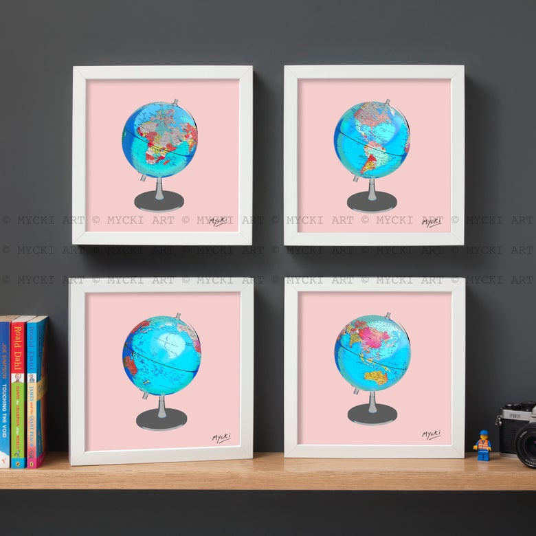 Image of Globe - all four framed prints