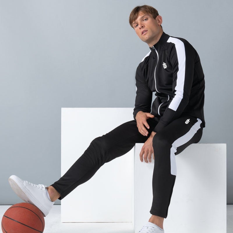 Image of SLIM FIT TRACKPANTS - BLACK/WHITE
