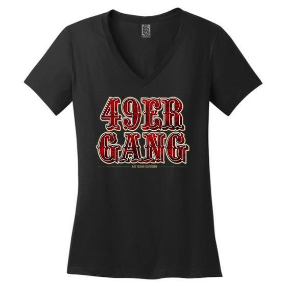 Image of Ladies 49ER GANG Vneck (black)