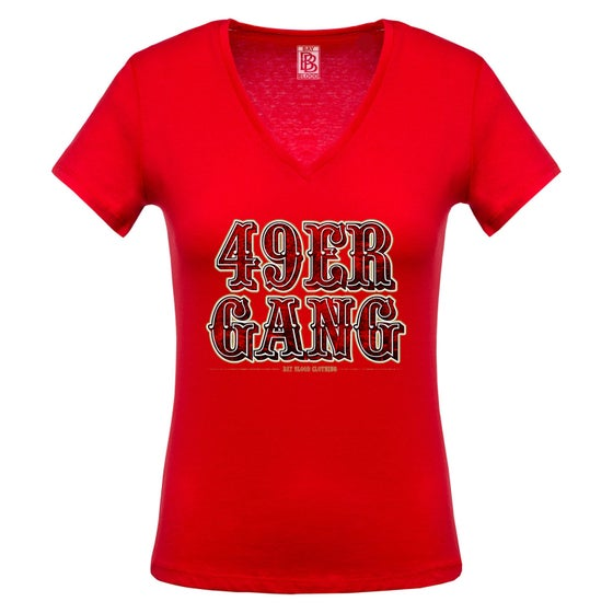 Image of Ladies 49ER GANG Vneck (red)