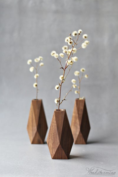 Image of Faceted vases - set of 3