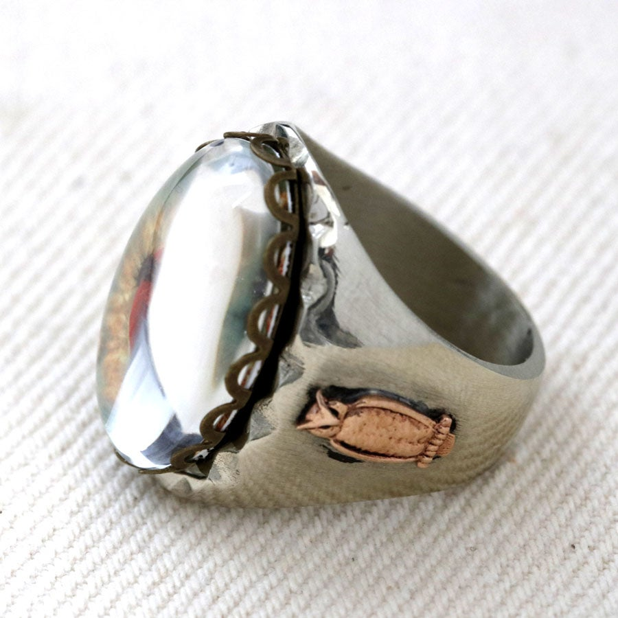 OVAL SACRED HEART IMAGE MEXICAN BIKER RING