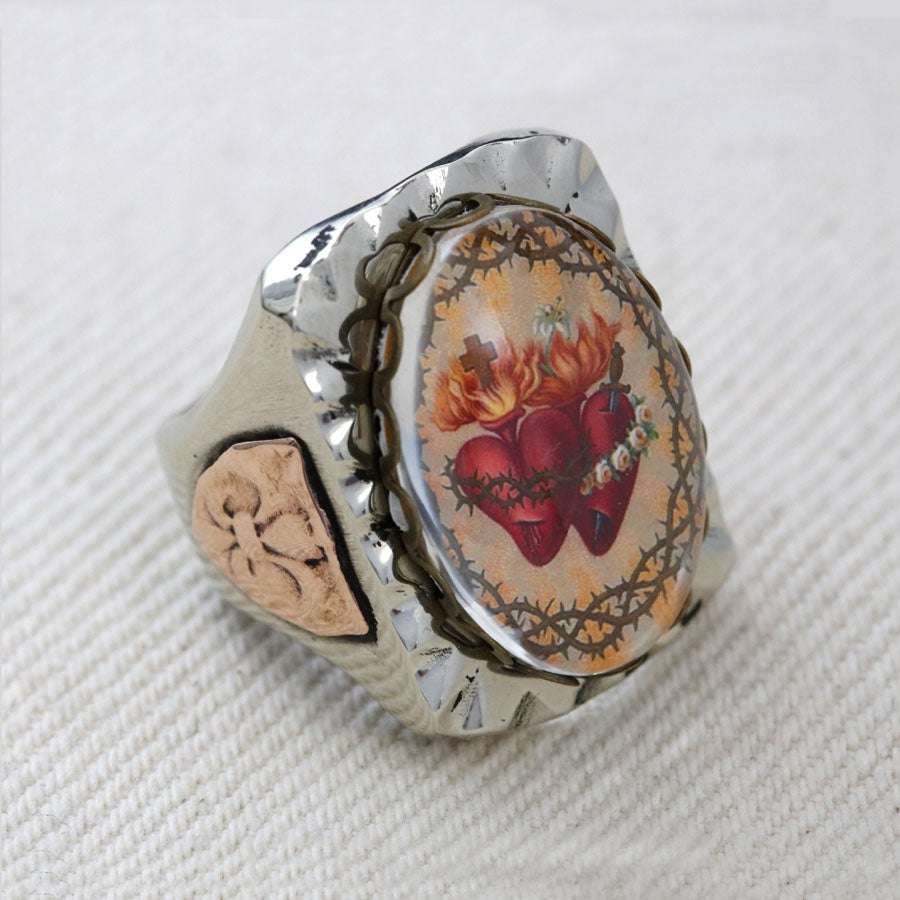 RECTANGLE DUAL SACRED HEART IMAGE MEXICAN BIKER RING