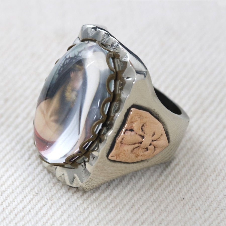 RECTANGLE JESUS IMAGE MEXICAN BIKER RING