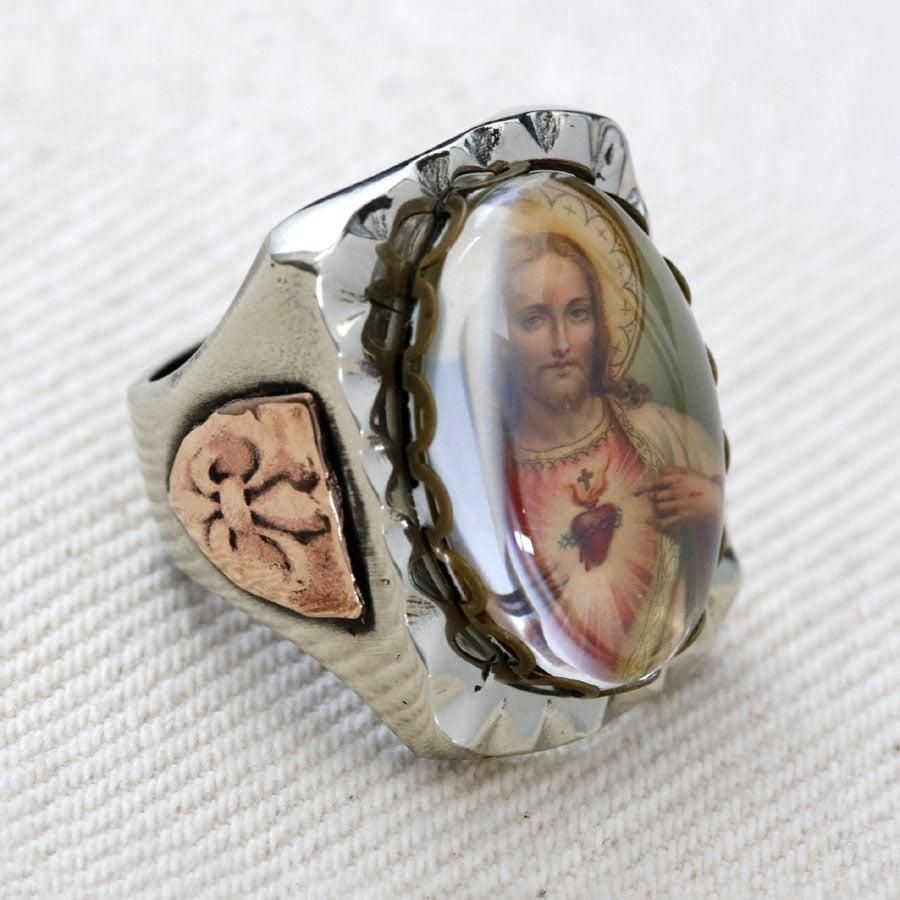 RECTANGLE JESUS SACRED HEART IMAGE MEXICAN BIKER RING