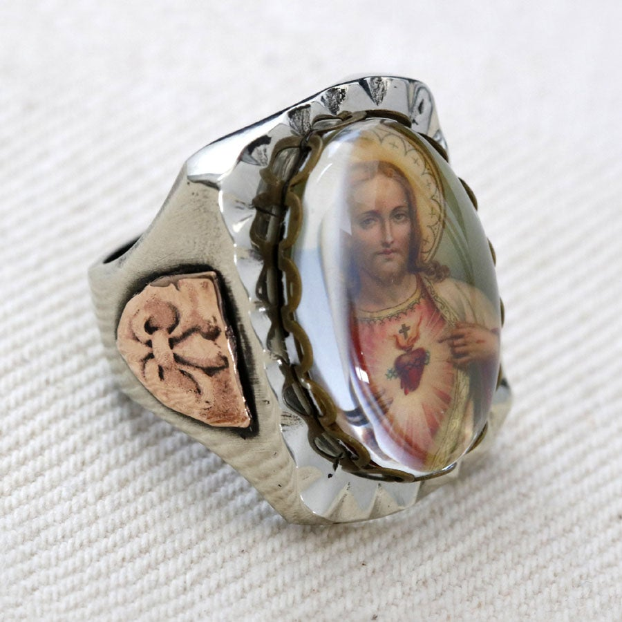 Image of RECTANGLE JESUS SACRED HEART IMAGE RING