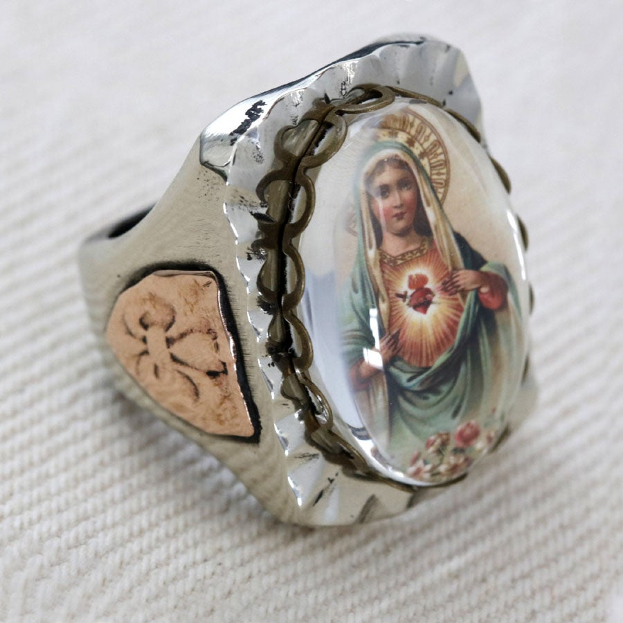 Image of RECTANGLE MARY SACRED HEART IMAGE RING
