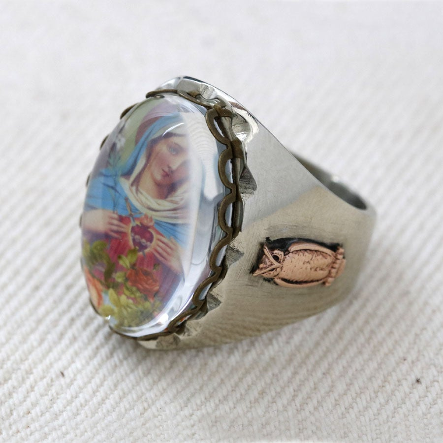 OVAL MARY ROSES IMAGE MEXICAN BIKER RING