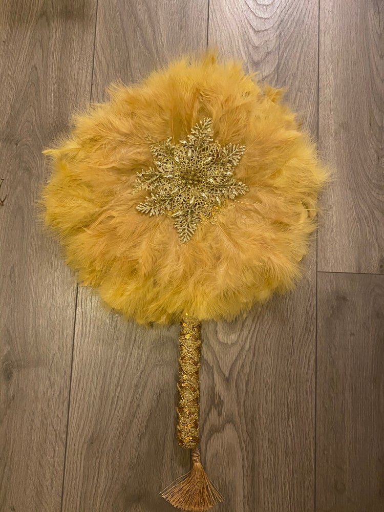 Image of Champagne Gold long handle hand fan