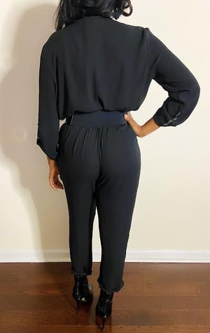 Image of 80s Vintage Black Jumpsuit - M