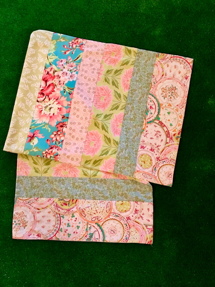 Image of Pieced Table Runner in Pinks, Greens and Teals, 19X54 inches