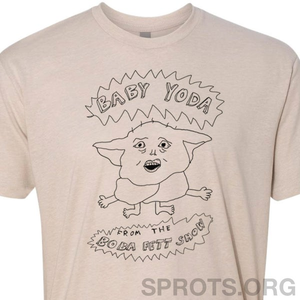 Image of BABY YODA FROM THE BOBA FETT SHOW Screen Printed T-Shirt