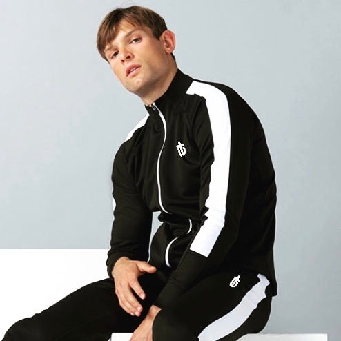 Image of SLIM FIT TRACK JACKET - BLACK/WHITE