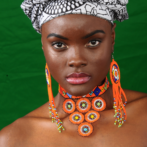 Image of Zulu Beaded Circle Choker & Tasseled Earrings