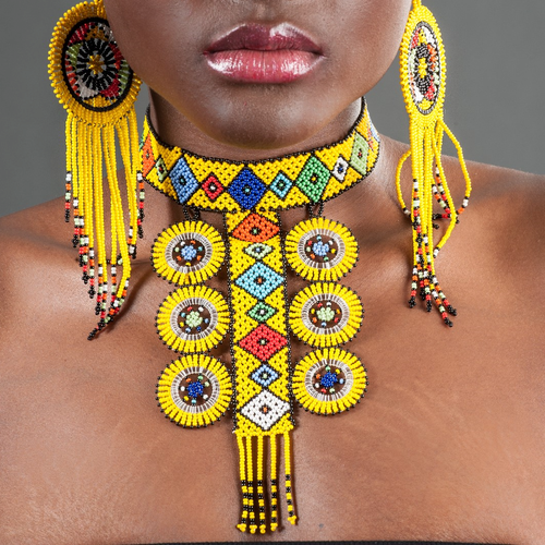 Image of Zulu Circle Six Beaded Choker & Circle Tasseled Earrings