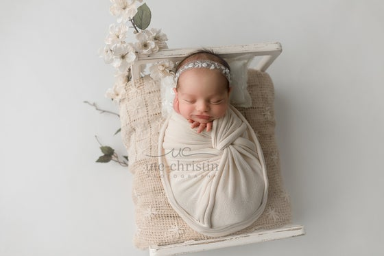 Image of Embroidery tulle pillow white