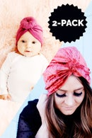Image 1 of Top Knot Turban Headwrap Bundle - kid/baby & adult