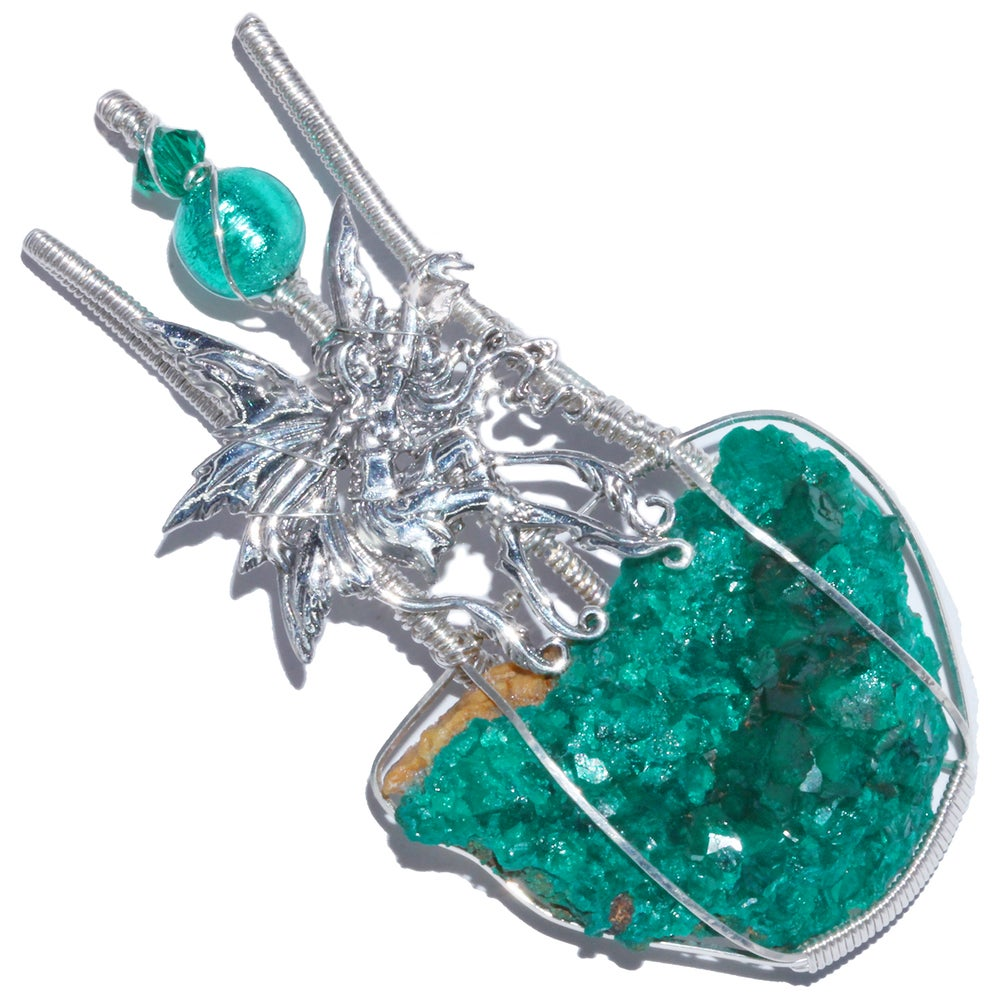 Image of Large Dioptase Crystal Handmade Pendant with Dancing Fairy