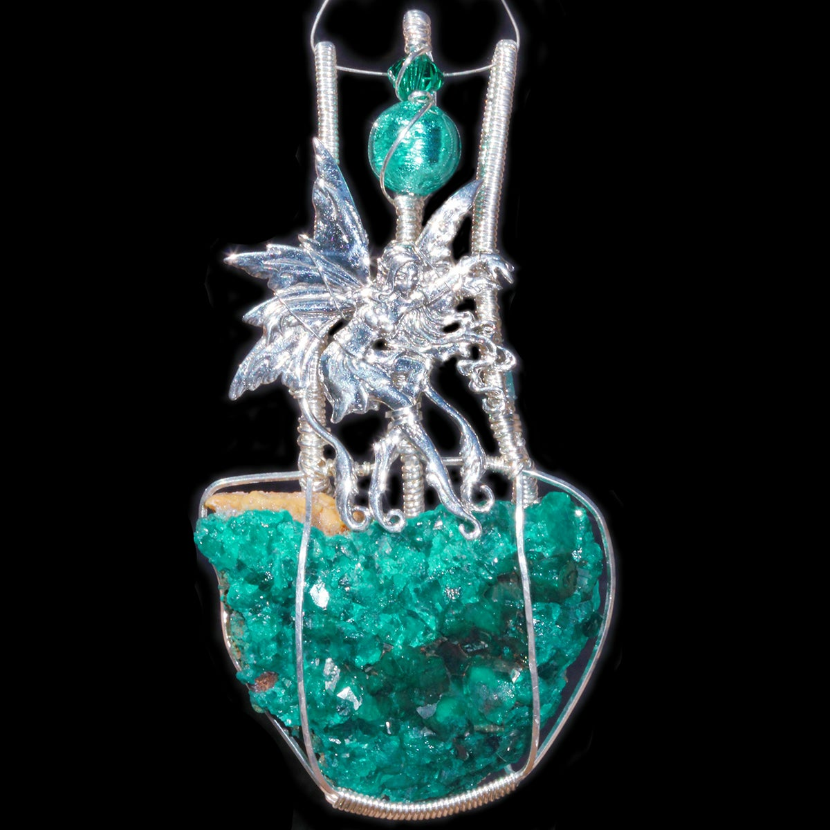 Large Dioptase Crystal Handmade Pendant with Dancing Fairy