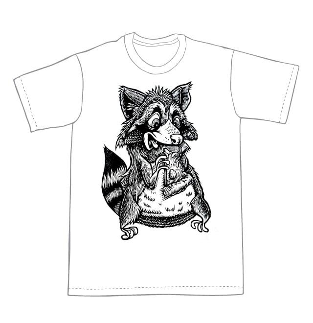 Raccoon eating Pizza T-shirt  (A2) **FREE SHIPPING**