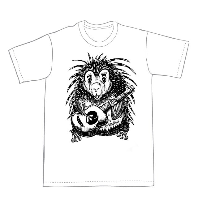 Image of Guitar Playing Porcupine T-shirt **FREE SHIPPING**