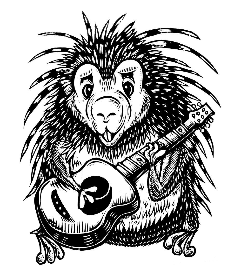 Guitar Playing Porcupine T-shirt (B1) **FREE SHIPPING**