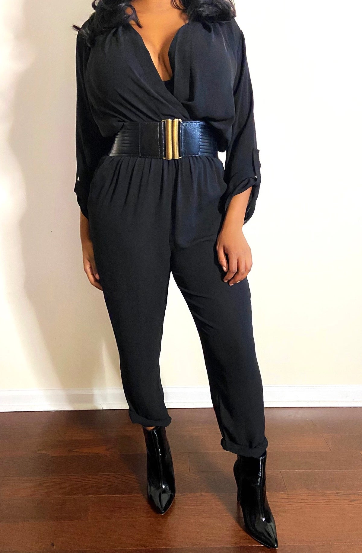 Image of 80s Vintage Black Jumpsuit - M